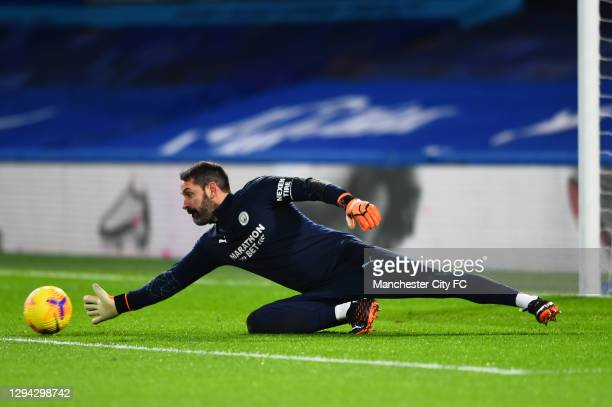 Scott Carson of Manchester City warms up prior to the Premier League match between Chelsea and Manchester City at Stamford Bridge on January 03, 2021...