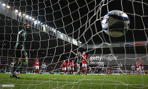 Scott Carson of West Bromwich Albion can only look on as Danny Guthrie of Newcastle United scores his goal from a free kick during the CocaCola...