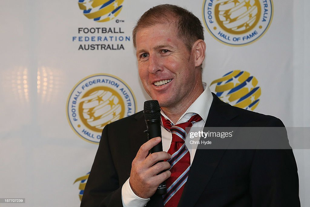 Scott Chipperfield talks after being inducted into the 2012 Football Federation Australia Hall of Fame during a ceremony at Gambaro Restaurant and Function Centre on December 6, 2012 in Brisbane, Australia.