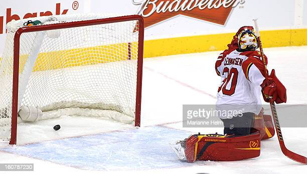 Scott Clemmensen of the Florida Panthers watches the puck sail past him as Bryan Little of the Winnipeg Jets scores the overtime goal in NHL action...