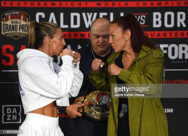 Scott Coker, Bellator President, looks on as Julia Budd, current Bellator women's featherweight world champion, faces off with Cris Cyborg, Bellator...