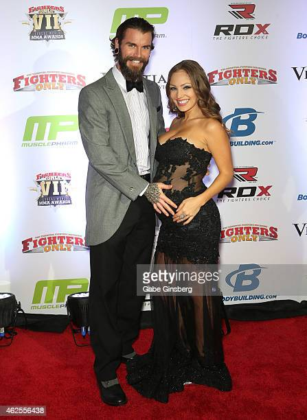Scott Cook and model and Bellator ring girl Jade Bryce arrive at the seventh annual Fighters Only World Mixed Martial Arts Awards at The Palazzo Las...