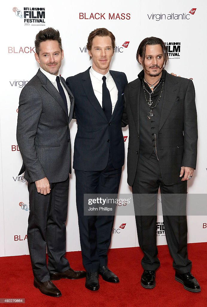 Scott Cooper, Benedict Cumberbatch and Johnny Depp attend the 'Black Mass' Virgin Atlantic Gala screening during the BFI London Film Festival, at Odeon Leicester Square on October 11, 2015 in London, England.