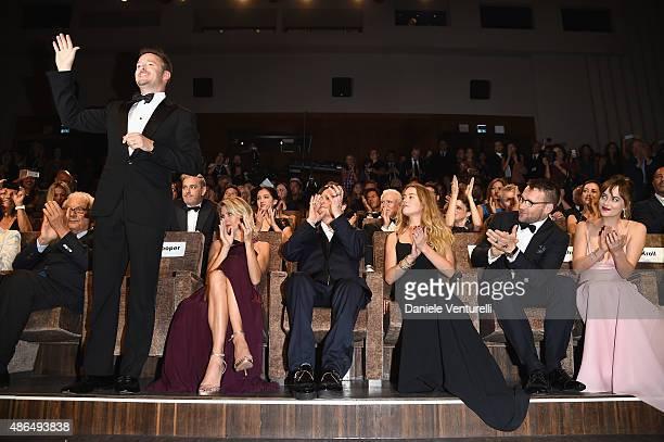 Scott Cooper Jocelyne Cooper Johnny Depp Amber Heard Joel Edgerton and Dakota Johnson attend a premiere for 'Black Mass' during the 72nd Venice Film...