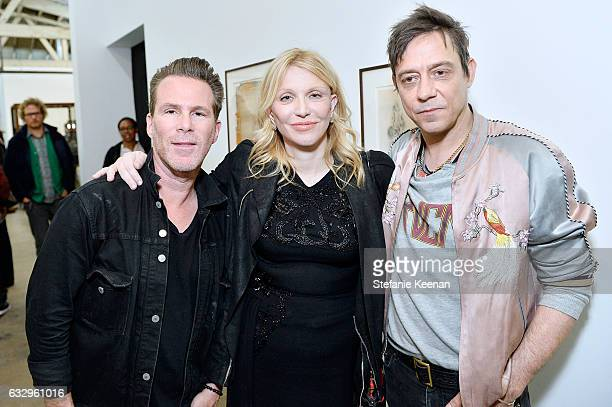 Scott Courtney Love and Jamie Hince attend UTA Artist Space Jake and Dinos Chapman Opening 2017 at UTA Theater on January 28 2017 in Los Angeles...