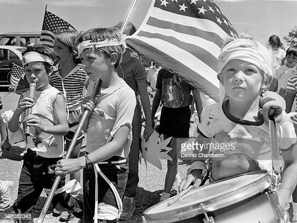 JUL 3 1984 JUL 8 1984 JUL 11 1984 Scott Craig David Wilson and Alex Hummel march as battle fatigued revolutionary soldiers in the Leawood shcool...