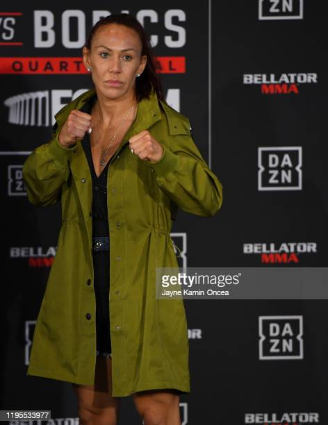 Scott Cris Cyborg poses for the media for her upcoming fight against Julia Budd, current Bellator women's featherweight world champion during media...