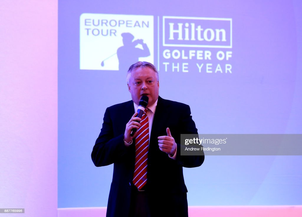 Scott Crockett, Communications Director at European Tour, speaks during the European Tour Hilton Golfer of the Year Lunch at the Waldorf Hilton hotel on December 7, 2017 in London, England.