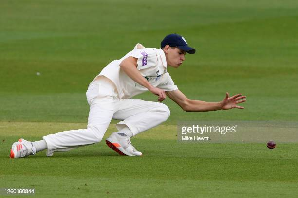 Scott Currie of Hampshire fields during a friendly match between Sussex and Hampshire at County Ground on July 27, 2020 in Hove, England.