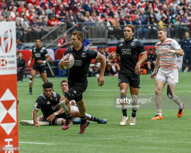Scott Curry of New Zealand scores between the posts during Game New Zealand vs England 5th Place SF 2 match at the Canada Sevens held March 1011 2018...