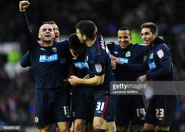 Scott Dan of Blackburn Rovers celebrates scoring the second goal during the FA Cup with Budweiser Fourth Round match between Derby County and...