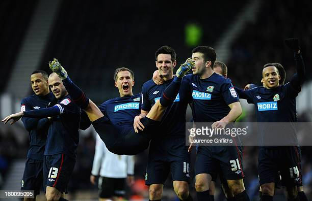 Scott Dan of Blackburn Rovers celebrates the first goal with Morten Gamst Pederson during the FA Cup with Budweiser Fourth Round match between Derby...