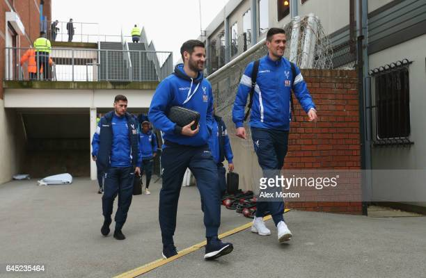 Scott Dann and Martin Kelly of Crystal Palace arrive the Premier League match between Crystal Palace and Middlesbrough at Selhurst Park on February...
