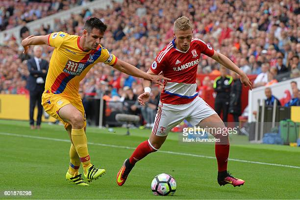 Scott Dann of Crystal Palace and Viktor Fischer of Middlesbrough during the Premier League match between Middlesbrough and Crystal Palace at...