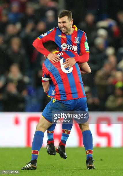Scott Dann of Crystal Palace celebrates James McArthur's goal during the Premier League match between Crystal Palace and Watford at Selhurst Park on...
