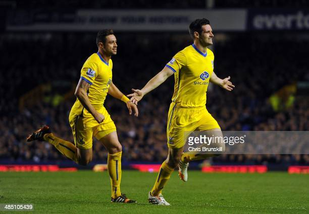 Scott Dann of Crystal Palace celebrates scoring his side's second goal during the Barclays Premier League match between Everton and Crystal Palace at...