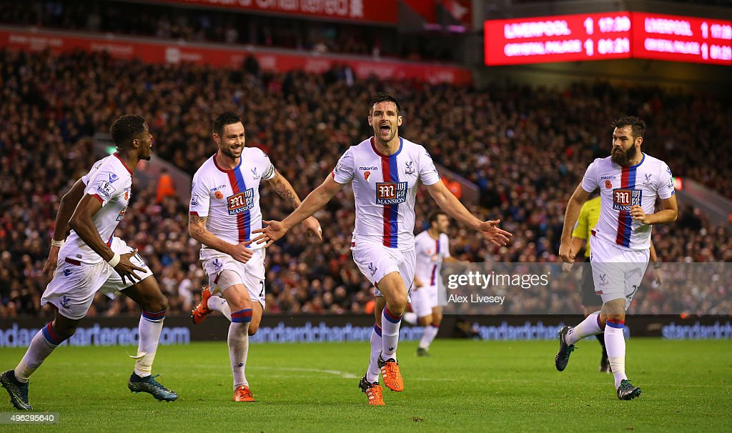 Scott Dann of Crystal Palace (c) celebrates scoring his side's second goal during the Barclays Premier League match between Liverpool and Crystal Palace at Anfield on November 8, 2015 in Liverpool, England.