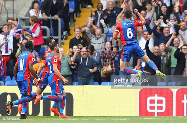 Scott Dann of Crystal Palace celebrates scoring his sides second goal during the Premier League match between Crystal Palace and Stoke City at...