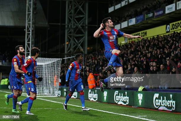 Scott Dann of Crystal Palace celebrates scoring his team's first goal during the Barclays Premier League match between Crystal Palace and AFC...