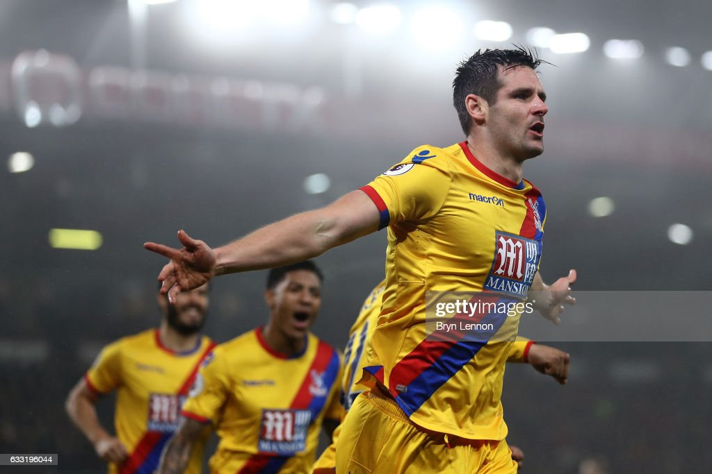 Scott Dann of Crystal Palace celebrates scoring the opening goal during the Premier League match between AFC Bournemouth and Crystal Palace at Vitality Stadium on January 31, 2017 in Bournemouth, England.