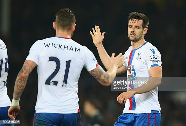 Scott Dann of Crystal Palace celebrates scoring the opening goal with Connor Wickham of Crystal Palace during the Barclays Premier League match...