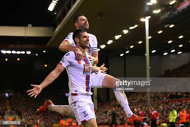 Scott Dann of Crystal Palace celebrates with Damien Delaney of Crystal Palace after scoring his side's second goal during the Barclays Premier League...