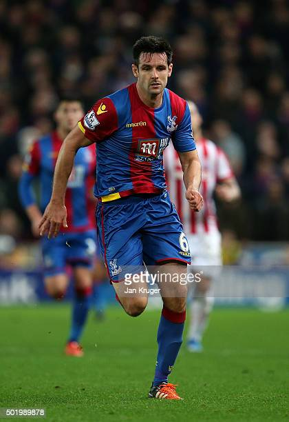 Scott Dann of Crystal Palace in action during the Barclays Premier League match between Stoke City and Crystal Palace at Britannia Stadium on...
