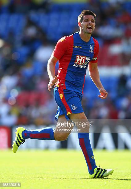 Scott Dann of Crystal Palace in action during the Pre Season Friendly match between Crystal Palace and Valencia at Selhurst Park on August 6 2016 in...
