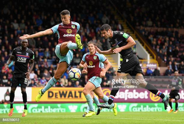 Scott Dann of Crystal Palace misses the targett with a header during the Premier League match between Burnley and Crystal Palace at Turf Moor on...