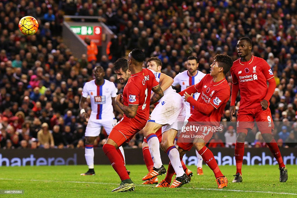 Scott Dann of Crystal Palace (c) scores his side's second goal during the Barclays Premier League match between Liverpool and Crystal Palace at Anfield on November 8, 2015 in Liverpool, England.