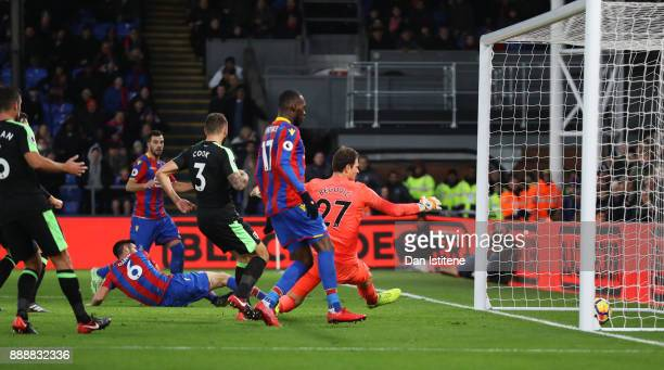 Scott Dann of Crystal Palace scores his sides second goal during the Premier League match between Crystal Palace and AFC Bournemouth at Selhurst Park...