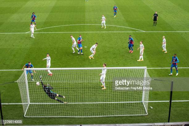 Scott Dann of Crystal Palace scoring a goal during the Premier League match between Crystal Palace and Leeds United at Selhurst Park on November 7,...