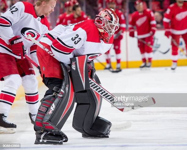 Scott Darling of the Carolina Hurricanes skates in warmups prior to an during warmups prior to an NHL game against the Detroit Red Wings at Little...