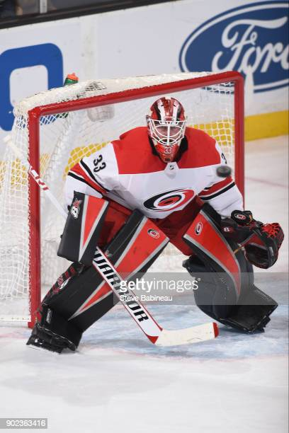 Scott Darling of the Carolina Hurricanes watches the incoming puck against the Boston Bruins at the TD Garden on January 6 2018 in Boston...