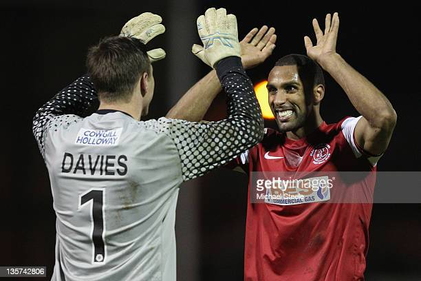 Scott Davies and Nathan Pond of Fleetwood Town celebrate their sides 20 victory during the FA Cup Second Round Replay match between Yeovil Town and...