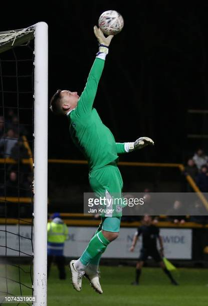 Scott Davies of Tranmere makes a save during the FA Cup Second Round Replay match between Southport and Tranmere Rovers at Haig Avenue on December 17...