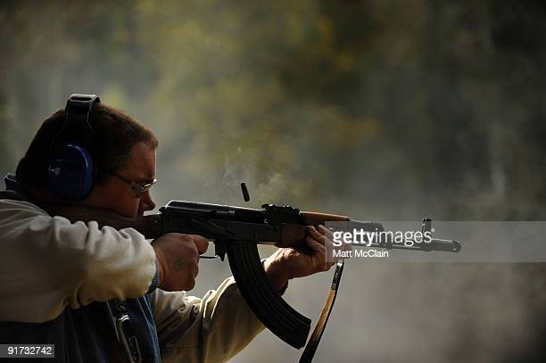 Scott Davis of Chicago Ill shoots an AK47 at the Knob Creek Machine Gun Shoot on October 10 2009 in West Point Kentucky The Supreme Court is...