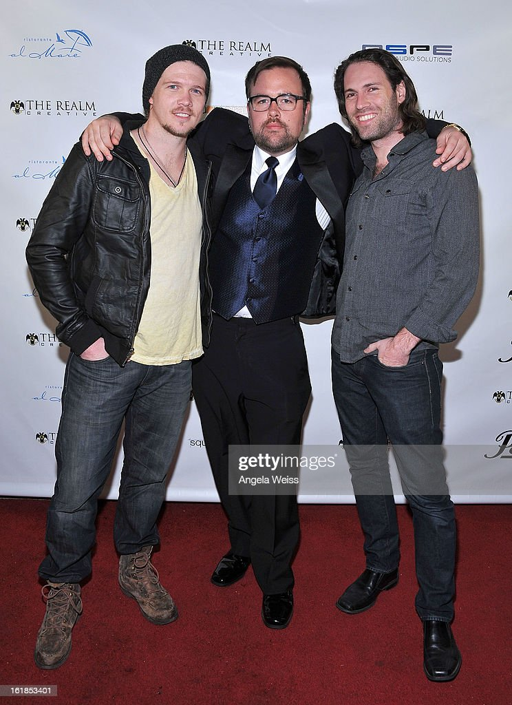 Scotty Dickert, Lee Miles and Ariel Belkin attend The Realm Creative red carpet premier party on February 16, 2013 in Los Angeles, California.
