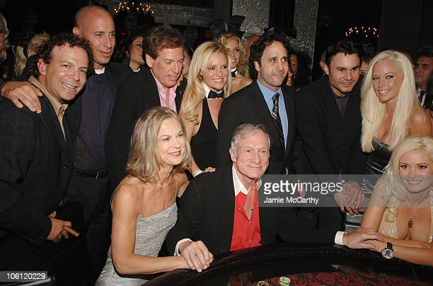 Scott DeGraff Michael Morton Christie HefnerBridget MarquardtHugh Hefner George Maloof Phil Maloof Kendra Wilkinson and Holly Madison