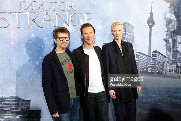 Scott Derrickson Benedict Cumberbatch and Tilda Swinton attend the 'Doctor Strange' photocall at Soho House on October 26 2016 in Berlin Germany