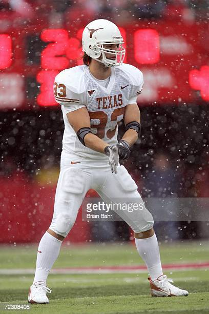 Scott Derry of the Texas Longhorns stands ready on the field during the game against the Nebraska Cornhuskers on October 21 2006 at Memorial Stadium...