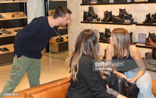 Scott Disick and and Sofia Richie talk as they make a store appearance at Windsor Smith at Chadstone Shopping Centre on November 1 2018 in Melbourne...