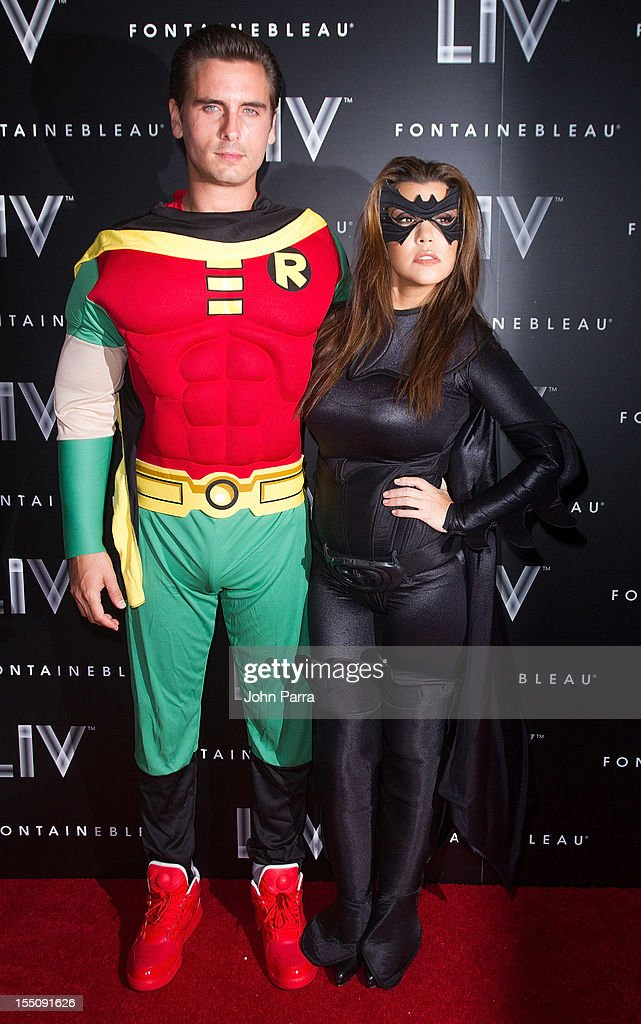 Scott Disick and Kourtney Kardashian arrive at Kim Kardashian's Halloween party at LIV nightclub at Fontainebleau Miami on October 31, 2012 in Miami Beach, Florida.