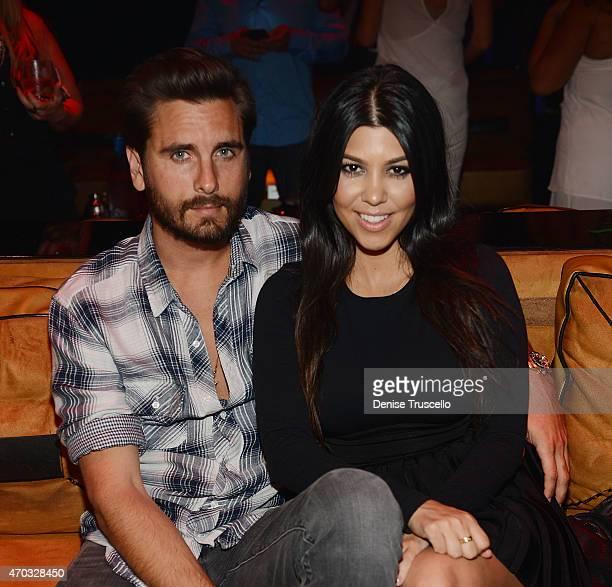 Scott Disick and Kourtney Kardashian celebrate Kourtney Kardashian's birthday at 1 OAK Nightclub at The Mirage Hotel Casino on April 18 2015 in Las...