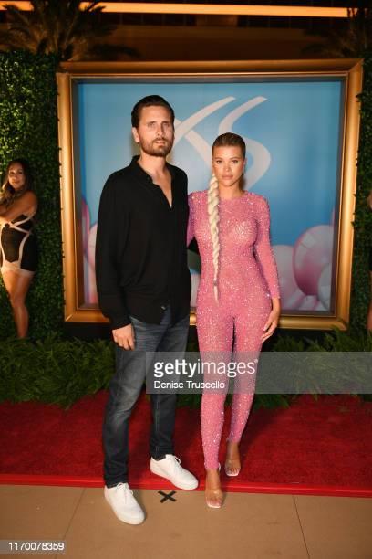 Scott Disick and Sofia Richie arrive at Sophia Richie's 21st birthday celebration at XS Nightclub at Wynn Las Vegas on August 24 2019 in Las Vegas...