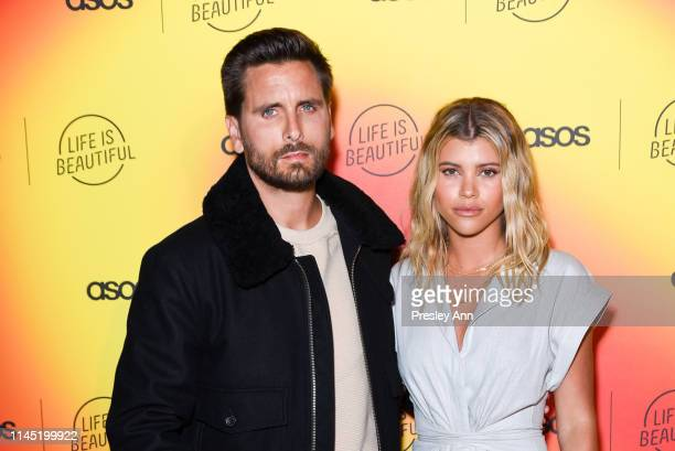 Scott Disick and Sofia Richie attend ASOS celebrates partnership with Life Is Beautiful at No Name on April 25 2019 in Los Angeles California