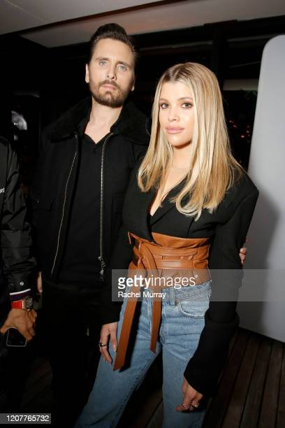 Scott Disick and Sofia Richie attend Rolla's x Sofia Richie Launch Event at Harriet's Rooftop on February 20 2020 in West Hollywood California