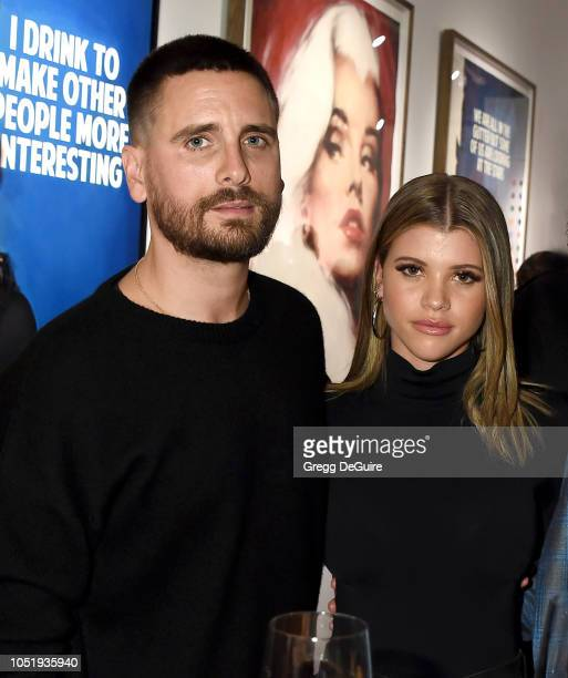 Scott Disick and Sofia Richie attend the VIP Opening of the Maddox Gallery Exhibition Best Of British at Maddox Gallery on October 11 2018 in West...