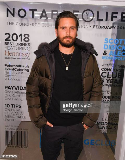 Scott Disick attends the celebration of The 5 year Anniversary Of The Concierge Club at The Globe and Mail Centre on February 1 2018 in Toronto Canada