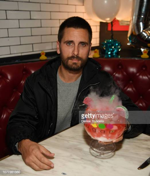 Scott Disick dines at Sugar Factory American Brasserie at Fashion Show Mall on January 4 2019 in Las Vegas Nevada